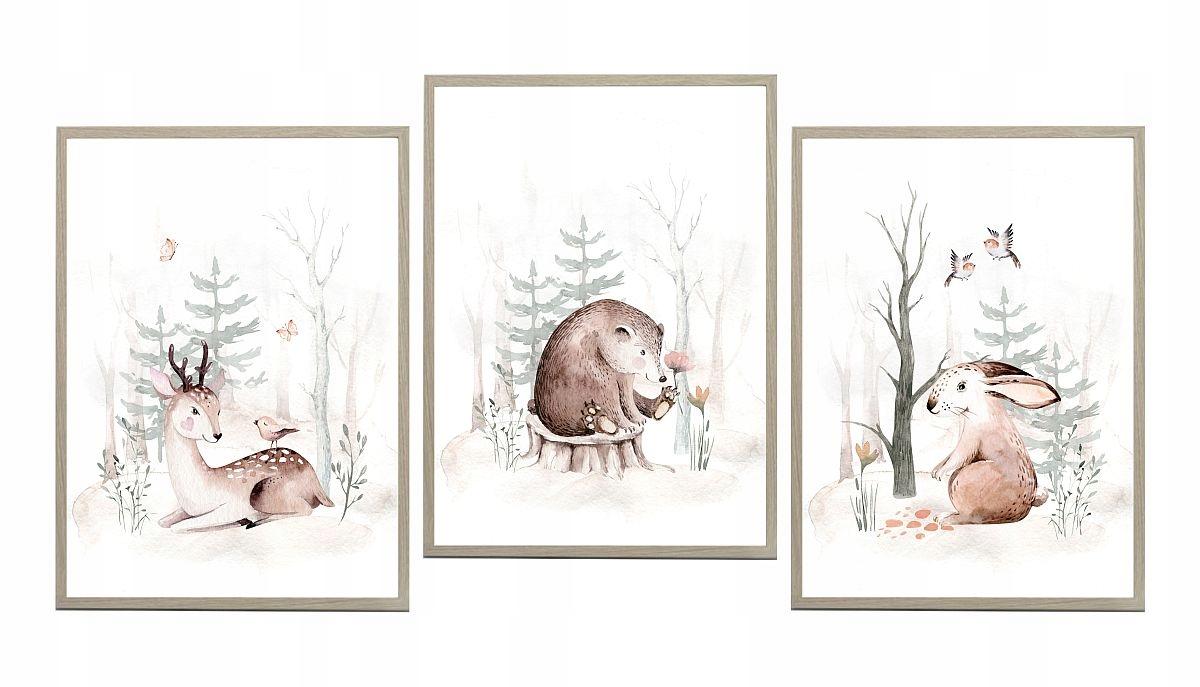 Zestaw 3 plakaty sarenka miś króliczek wzory A3
