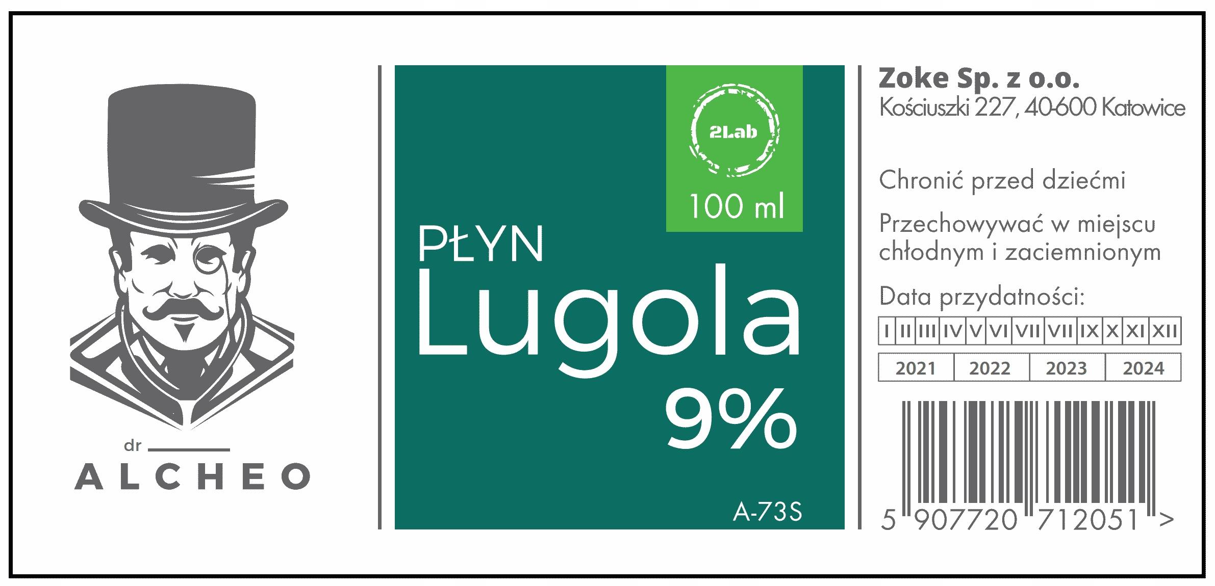 Płyn Lugola 9% - 100ml Ultraczysty. Dr Alcheo Producent Zoke