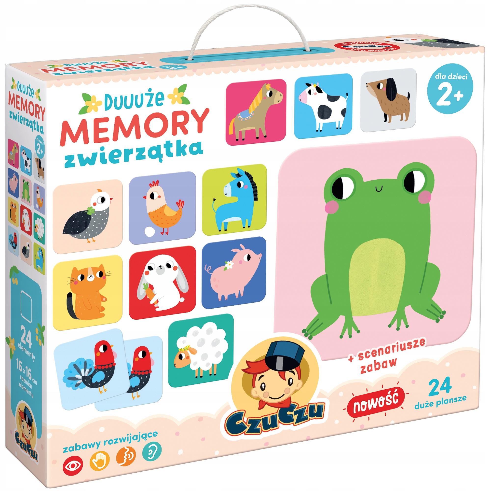 CzuCzu Duuuże MEMORY Zvieratá na vidieku hra 2+