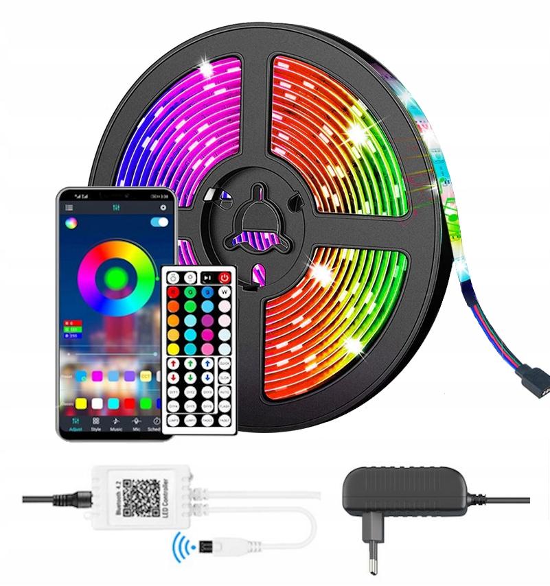Taśma LED Bluetooth RGB 5050 10m ZESTAW GRATISY