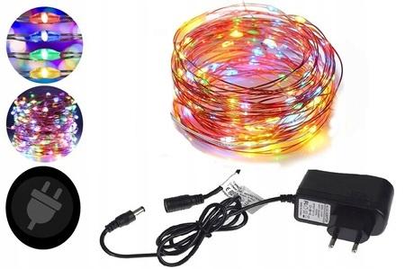 Провода цветные 100 светодиодных ламп с блоком питания