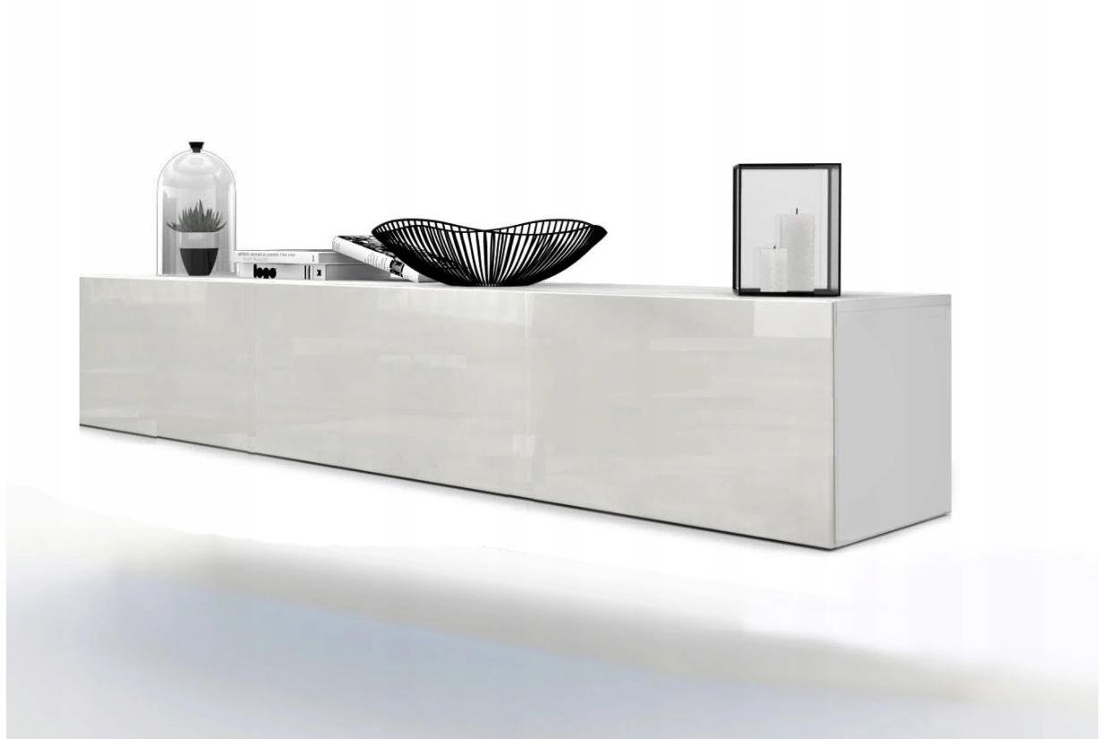 Подвесной шкаф для телевизора Комод белый глянцевый