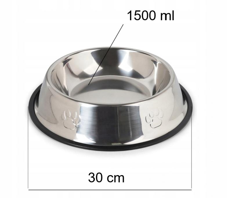 MISKA METALOWA XL dla Psa na Gumie 30 cm - 1,5L Materiał miska metalowa