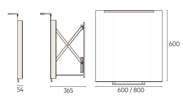 Lustro Miior Top 60x60 LED wysuwane/przyciągane Wysokość 600 mm