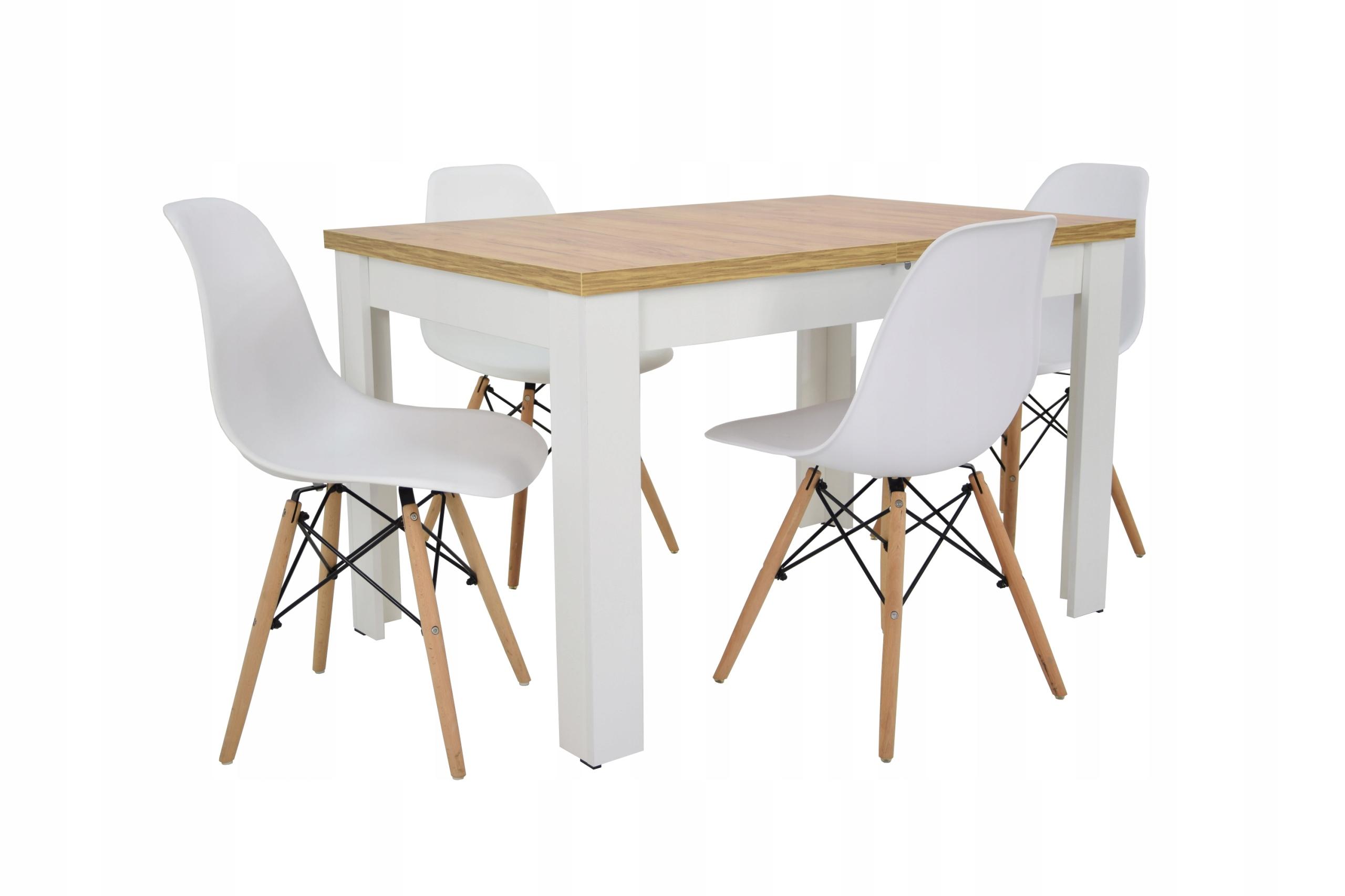 Zestaw w stylu skandynawskim 4 krzesła i stół