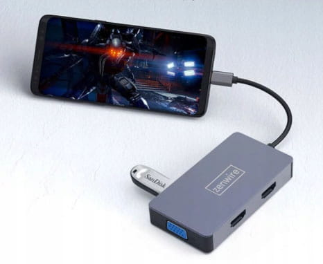 ADAPTER HUB 5W1 USB-C 2x HDMI 4K/VGA/USB 3.0/PD ZW Producent (Nowy) inna