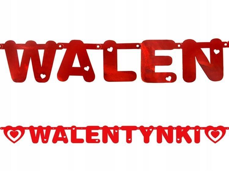 BANER WALENTYNKI SERCA 1,6 M CZERWONY METALIZOWANY