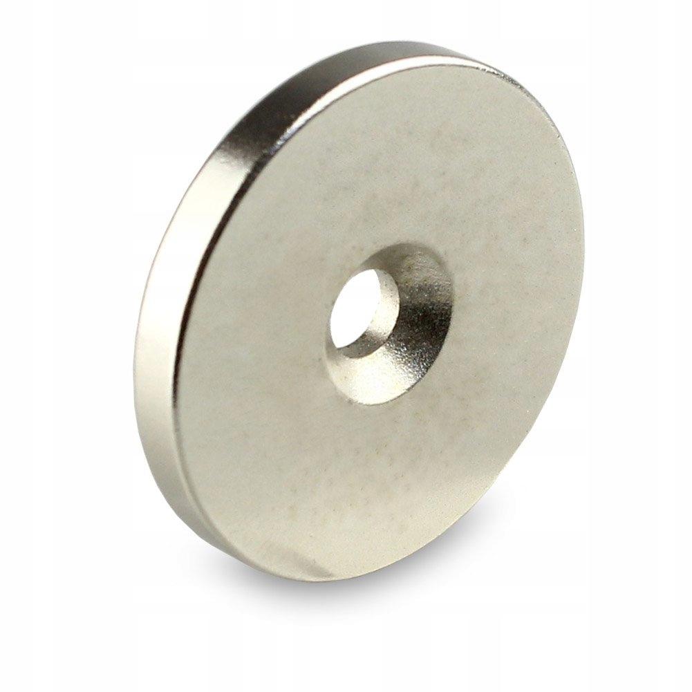 Neodymový magnet 30x7,5 / 4,5x3 mm pod skrutkou
