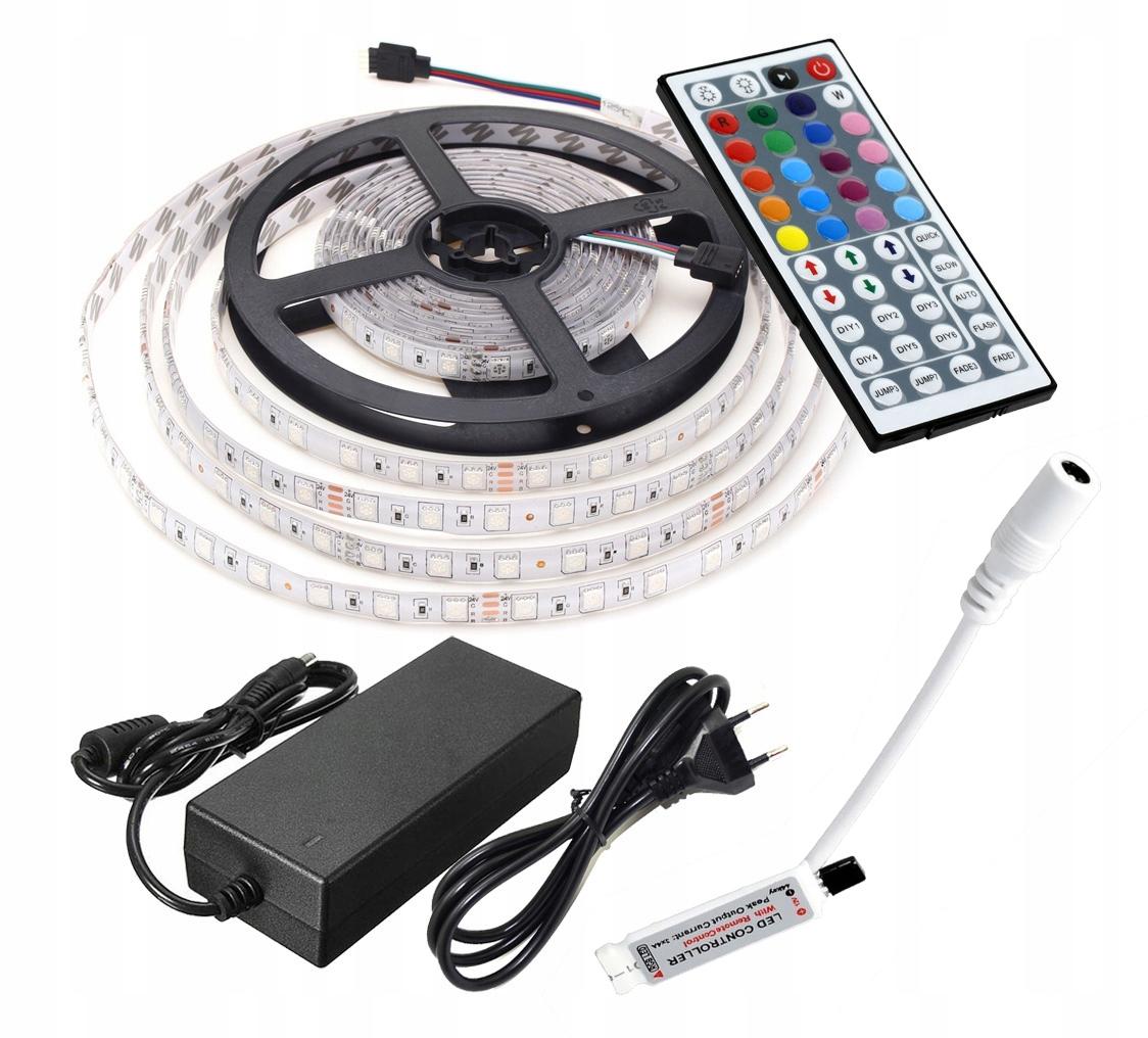 Nastaviť LED RGB 5050 IP65 60 / M + Napájanie, diaľkové ovládanie