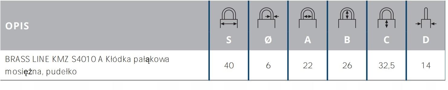 Kłódka Pałąkowa Mosiężna Gerda S40 Brass Line Informacje dodatkowe Odporność na warunki atmosferyczne Atest