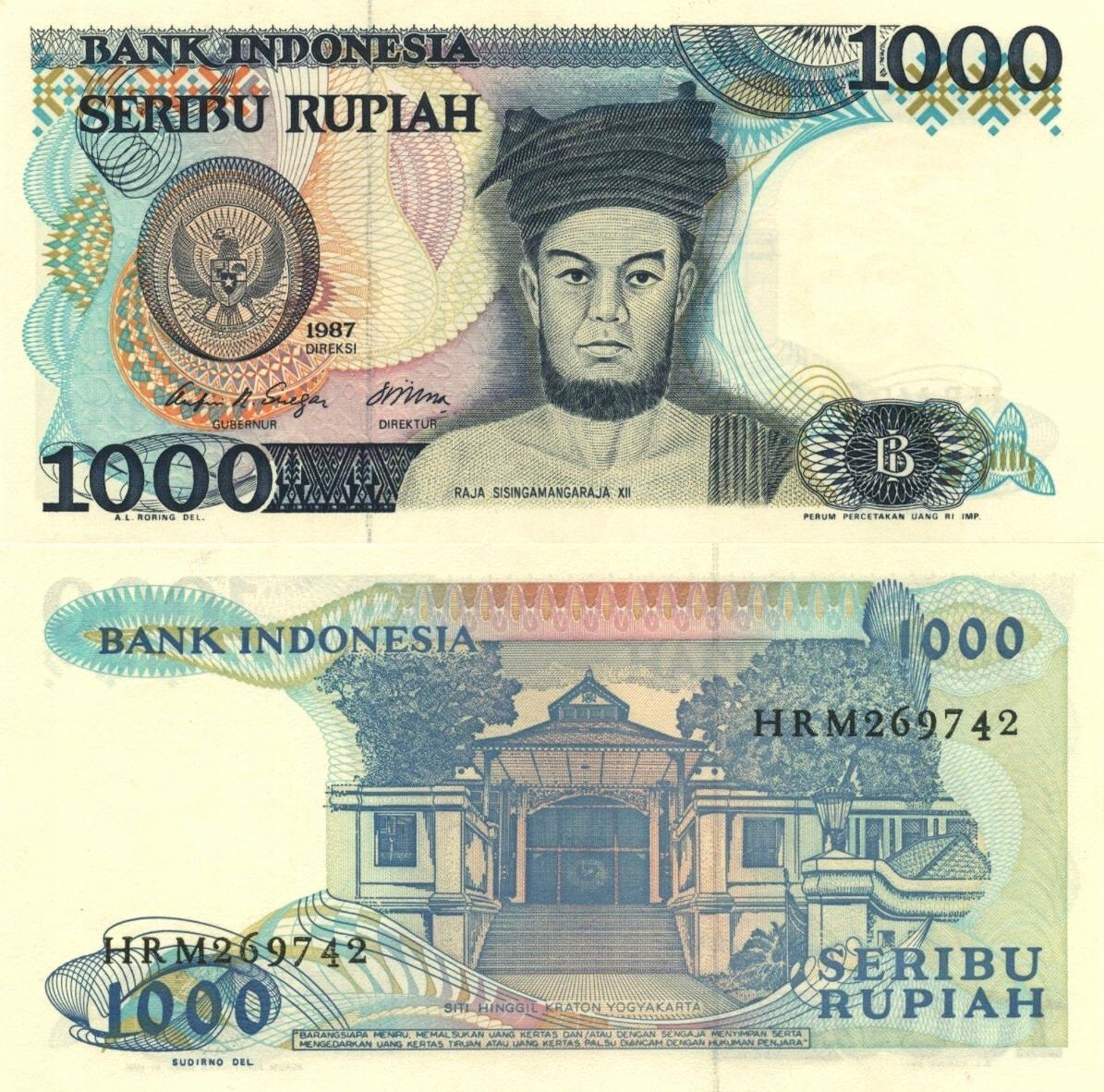 # INDONEZJA - 1000 RUPII - 1987 - P124 - UNC