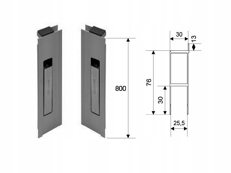 Алюминиевый вертикальный боковой замок H800 с заглушкой