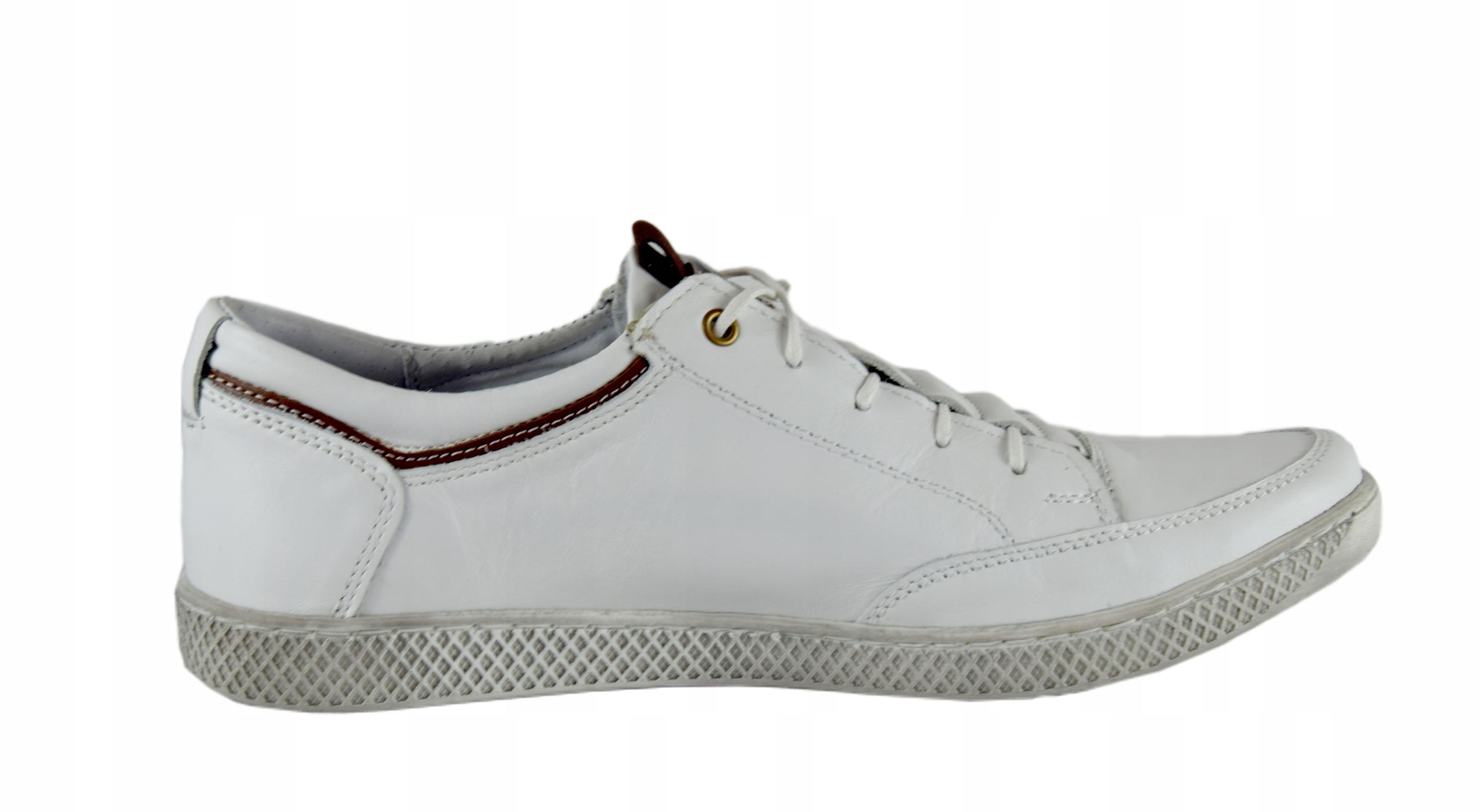 Białe buty skórzane sznurowane półbuty męskie 0448 Marka inna