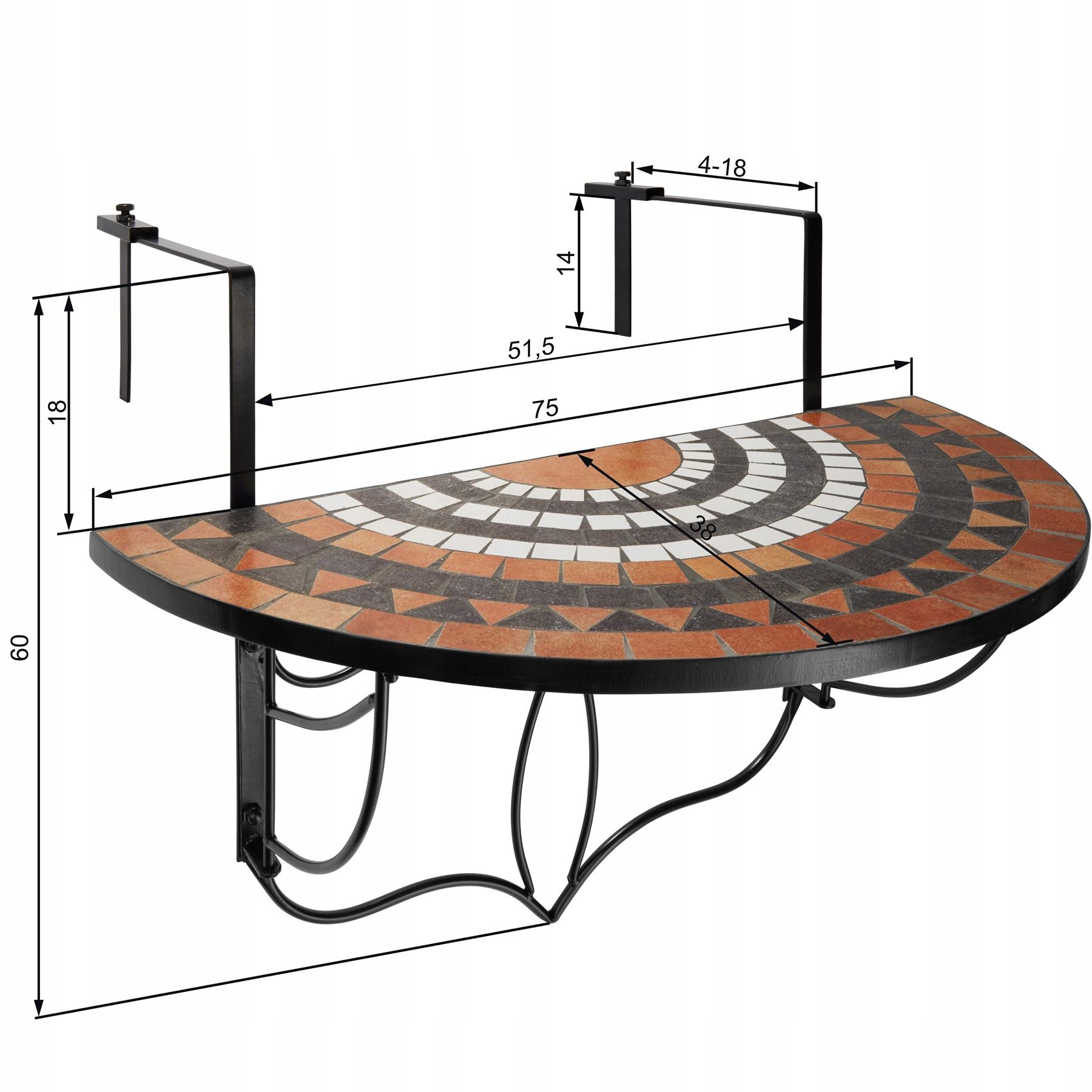 Skladací mozaikový balkónový stôl 402774Kód produktu 402774