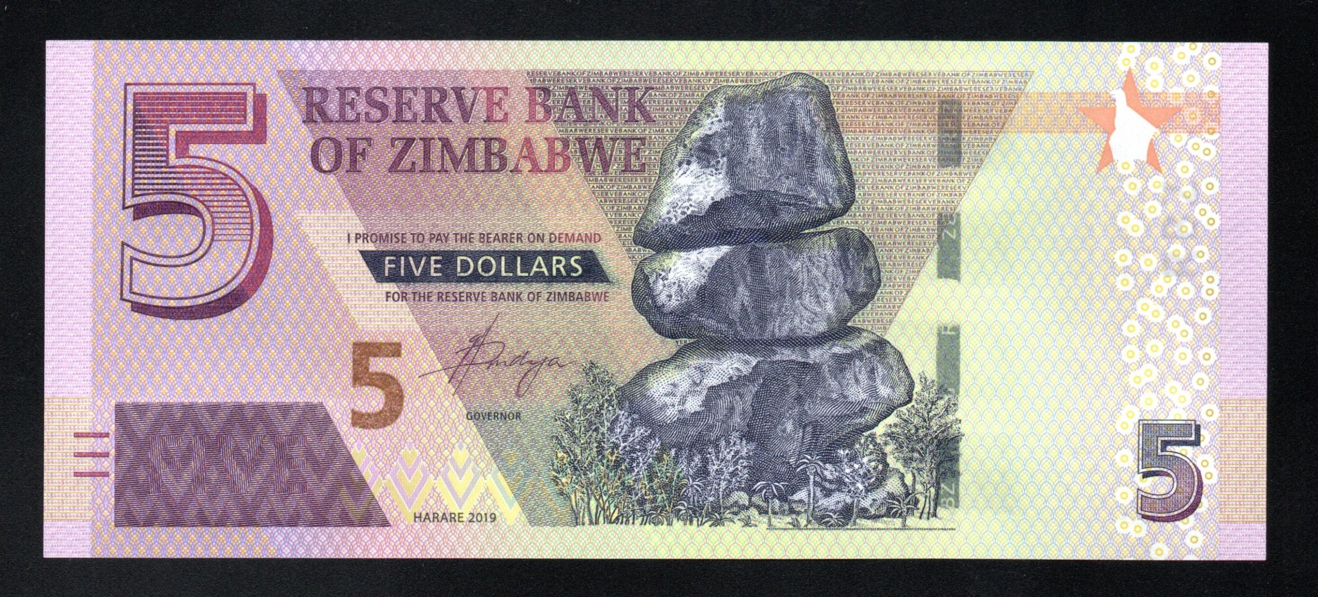 Zimbabwe 5 DOLLARS P-100 new UNC 2019 seria AD