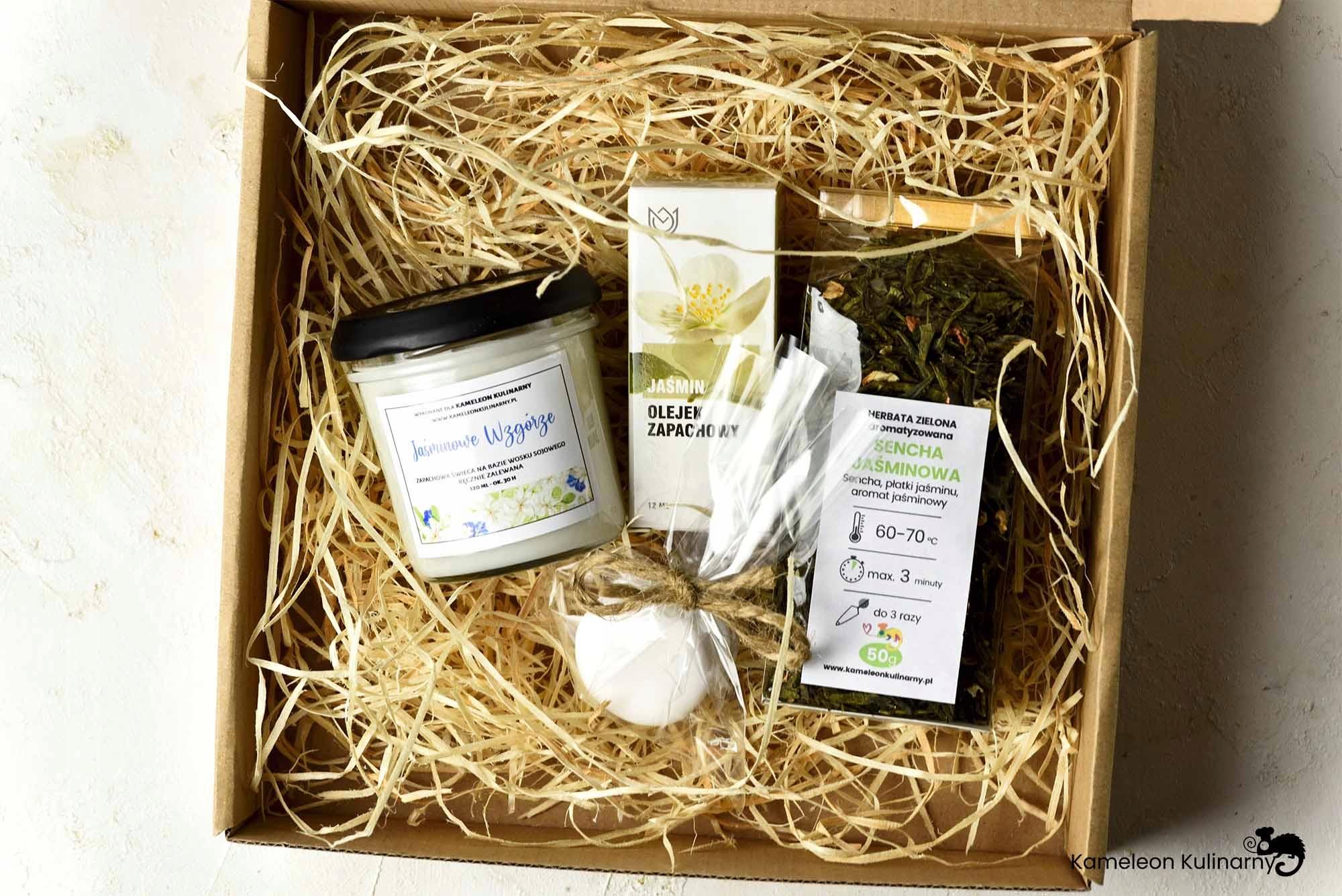 ZESTAW PREZENT świeca herbata olejek mydło JAŚMIN! EAN 5904119220302