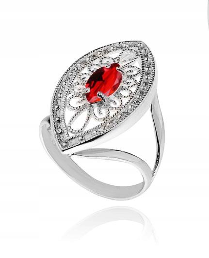Pierścionek Ażurowy Z Czerwoną Cyrkonią Rozmiar 11