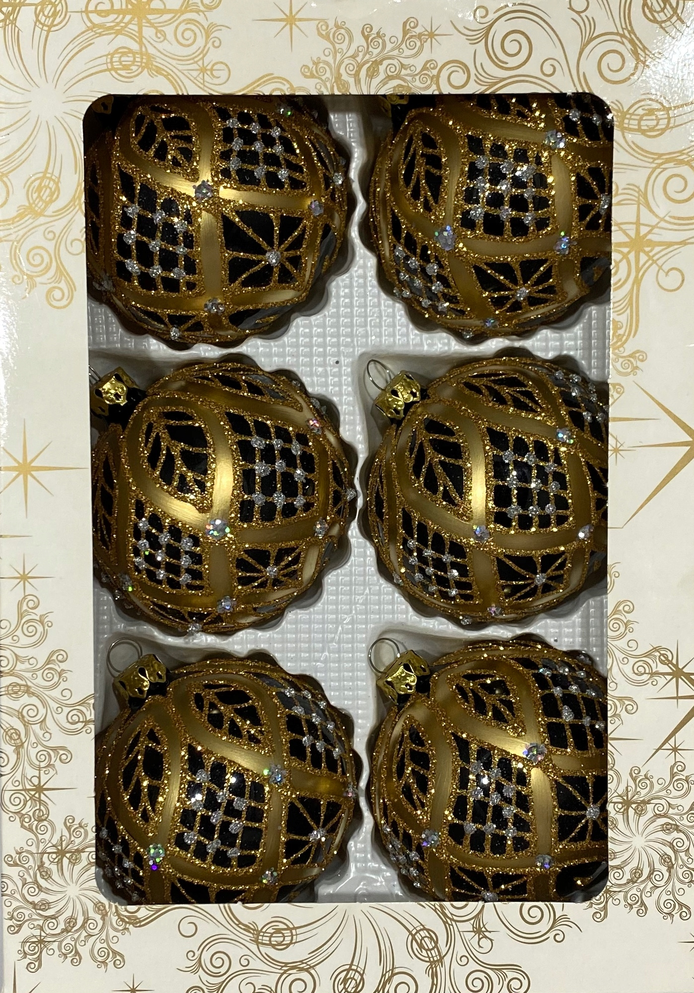 Sklenené vianočné gule RUČNE VYzdobené 80mm