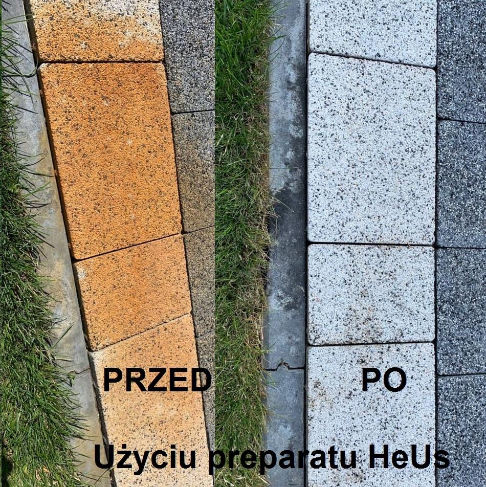 Czyszczenie kostki i betonu z rdzy nawózu HeUs 1L