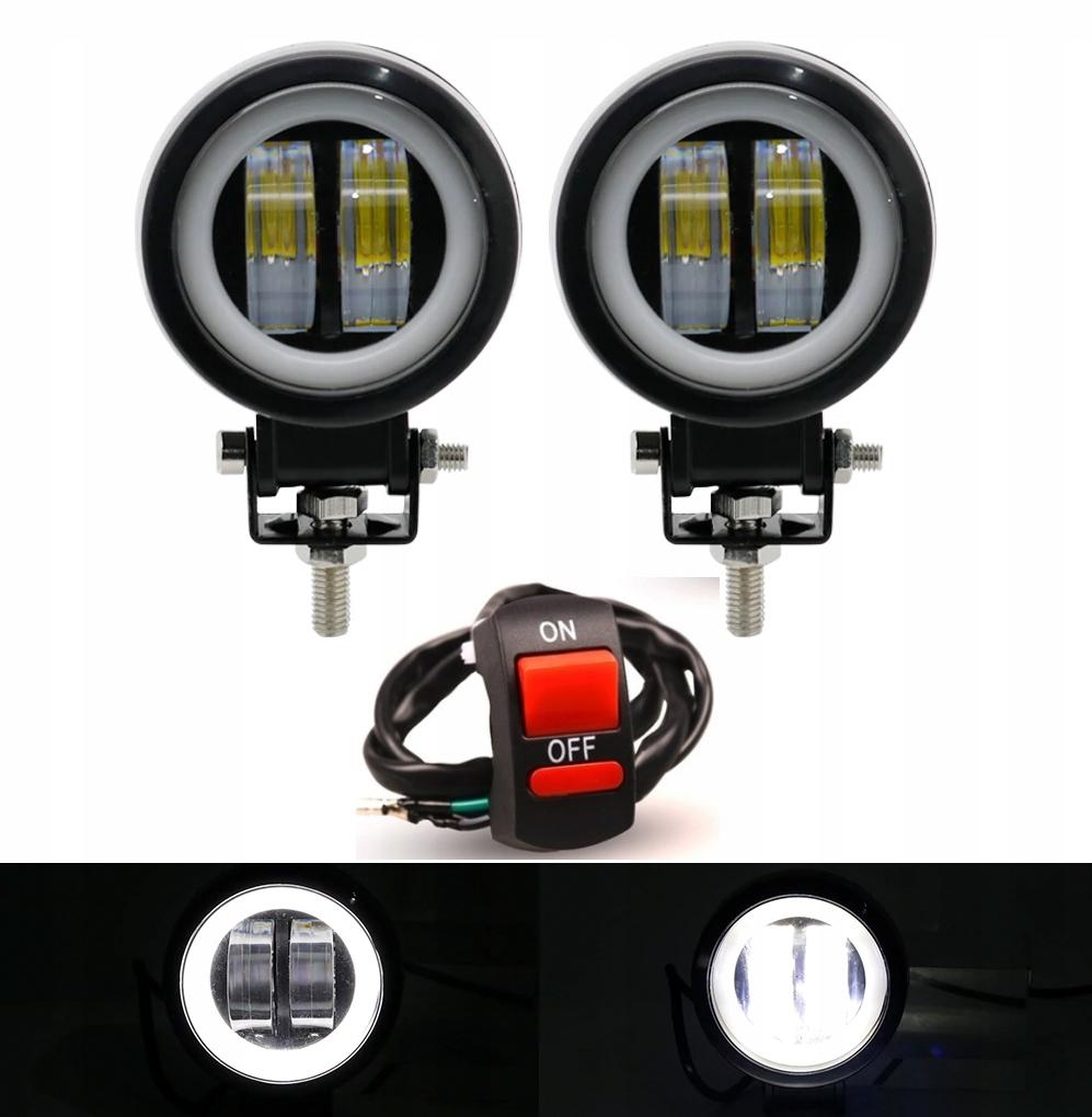 REFLEKTOR HALOGEN LAMPA LED CREE RING MOTOCYKL x2