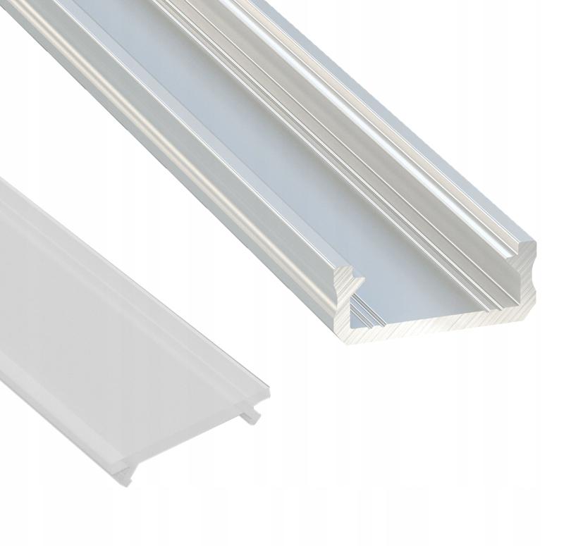 Profil listwa do taśmy led srebrny D z kloszem 1m