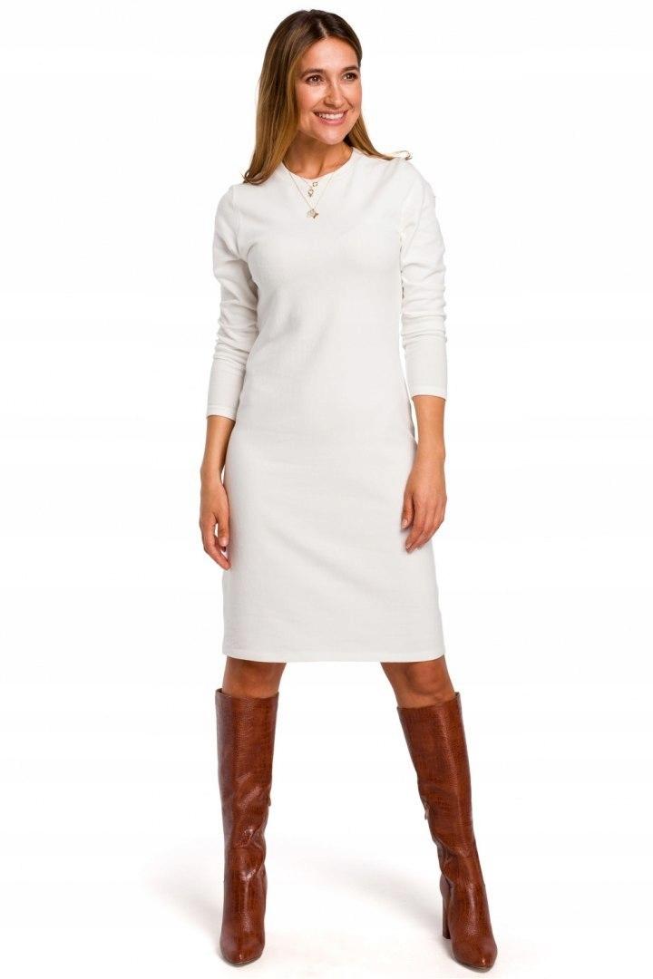 S178 Sukienka sweterkowa Ecru 36 S