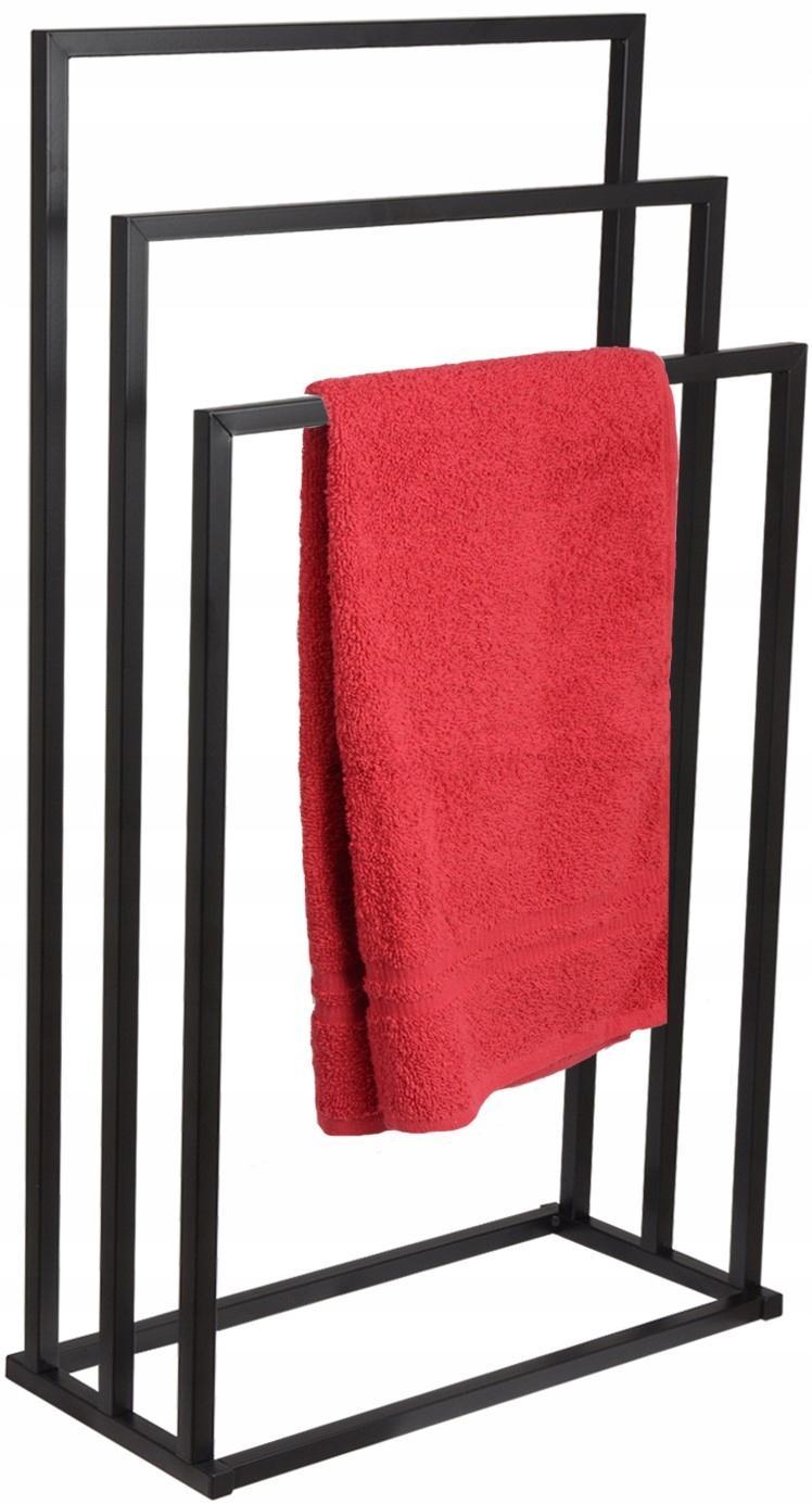 Wieszak na ręczniki łazienkowy czarny stojak