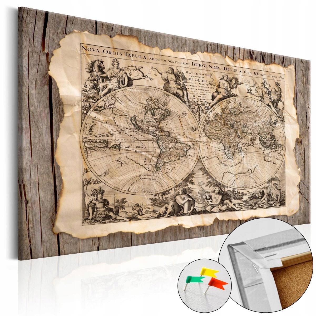 Cork obrázok stará mapa retro korková mapa 120x80