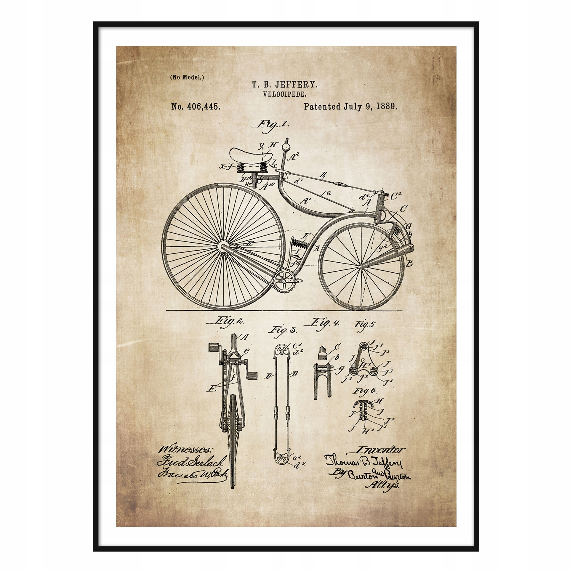 Plagát Retro Bike Jeffery Patentový diagram Super A1