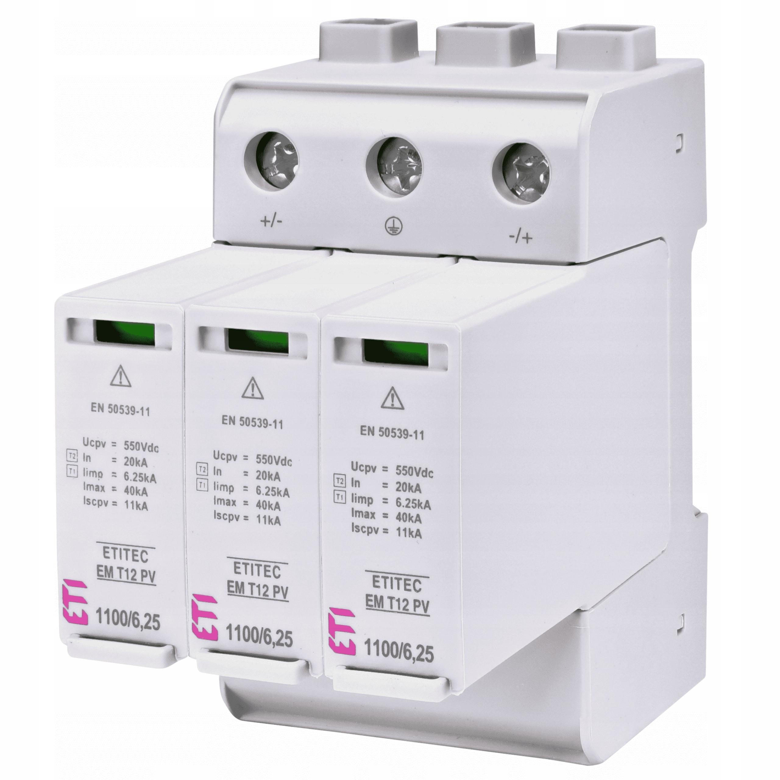 Ogranicznik przepięć T1+T2 1100V DC FOTOWOLTAICZNY