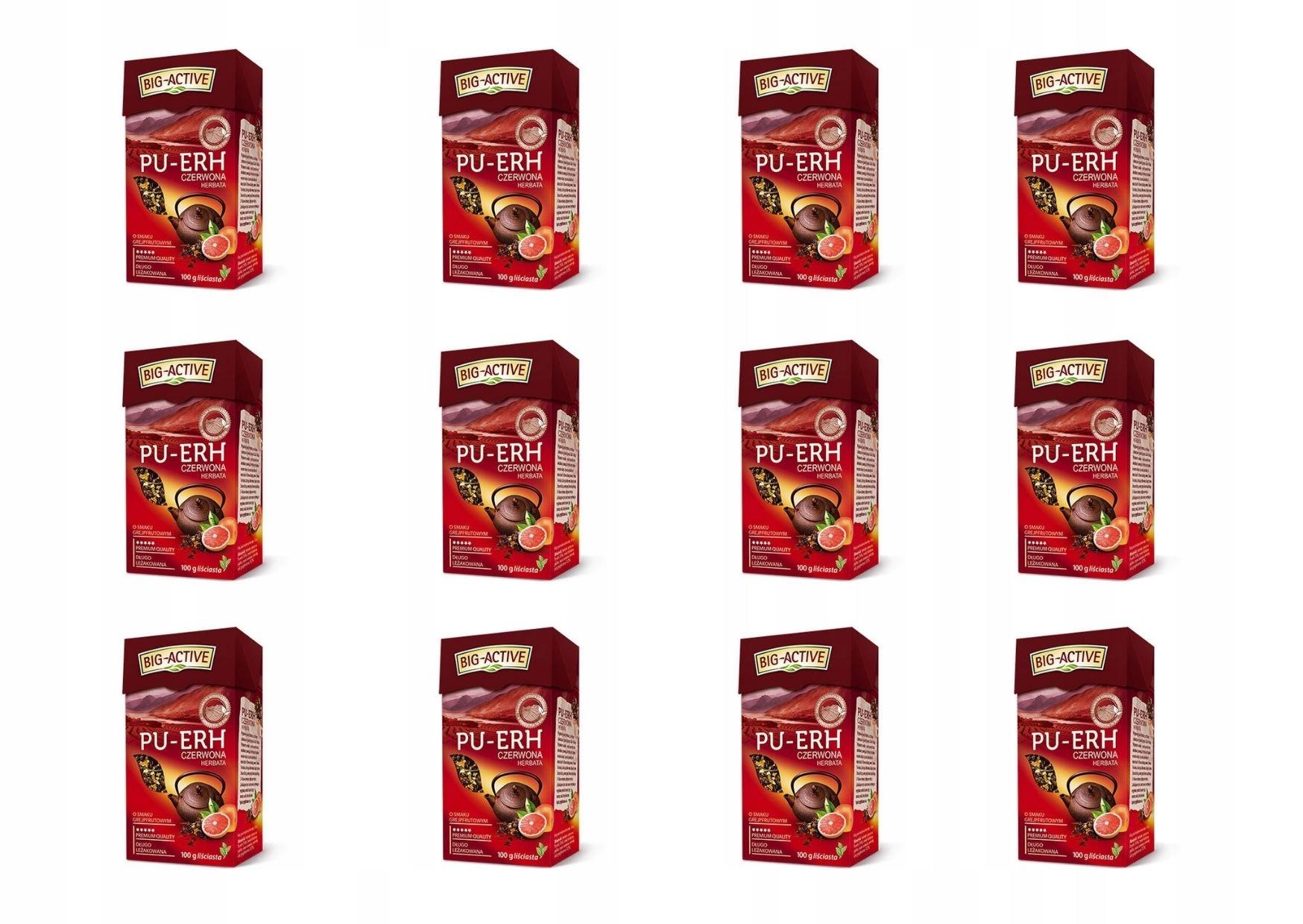 BIG ACTIVE Pu-Erh грейпфрут в картонной упаковке 12 x 100 г