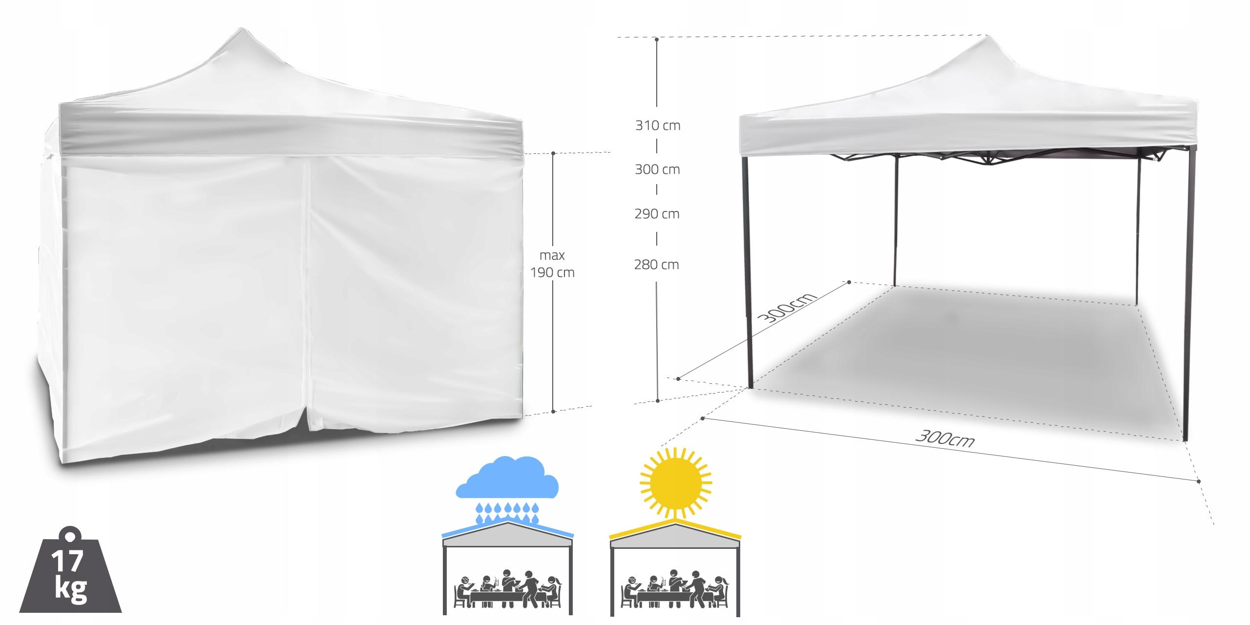 PAVILIONNÝ OBCHODNÝ STANOVÝ STAN 3x3 m VODEODOLNÁ hmotnosť produktu s jednotlivým balením 17,8 kg