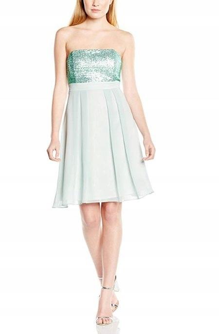 Swing Mini Zdobiona Sukienka Odkrytę Ramiona 36 S