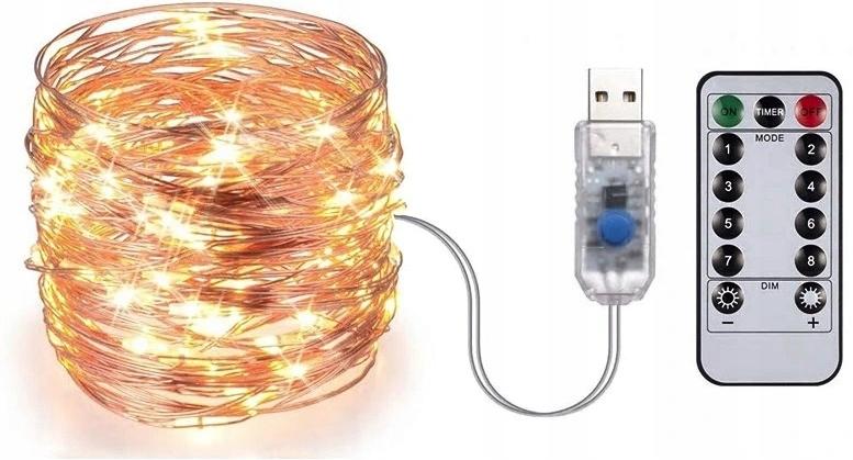 LAMPKI DRUCIKI na USB + PILOT + bateria 50 LED 5m