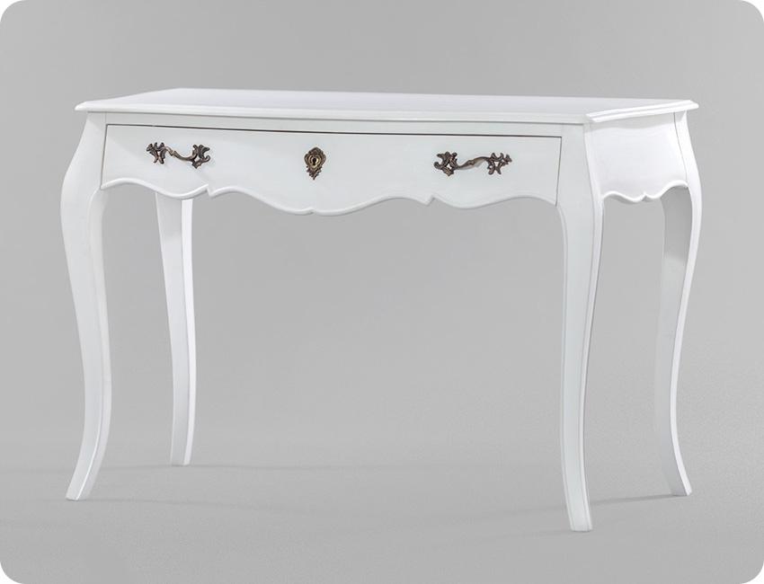 Stylowe białe biurko z pełnego drewna