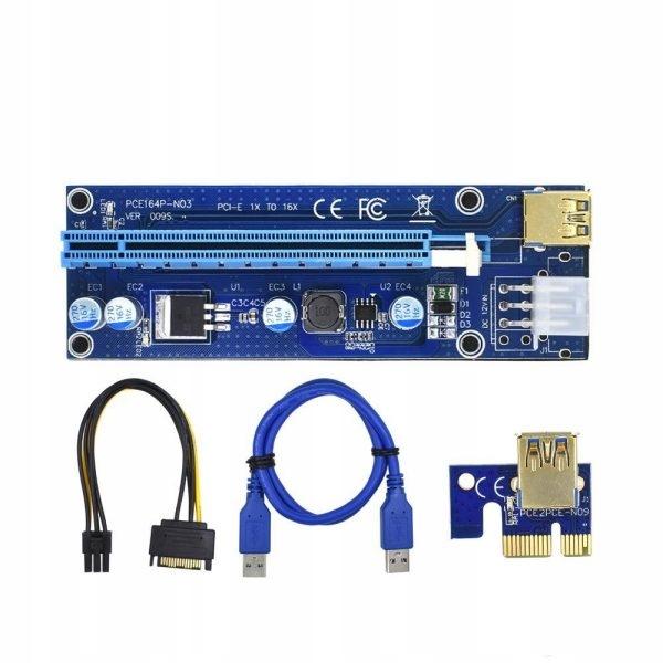 Riser PCI-E 1x-16x USB 3.0 SATA 6-PIN wersja 009s