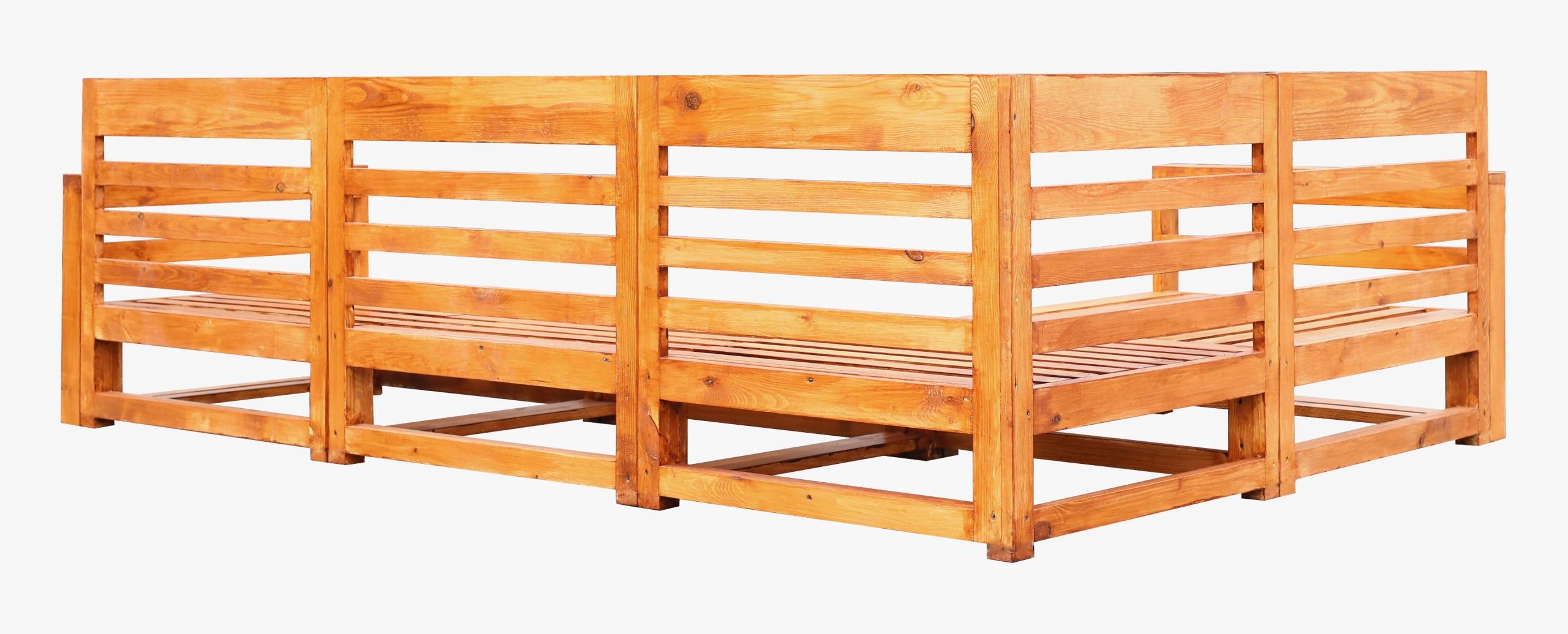 Sada záhradného nábytku z dreva 4 SEDADLO + 2 LAVICE Moderný štýl