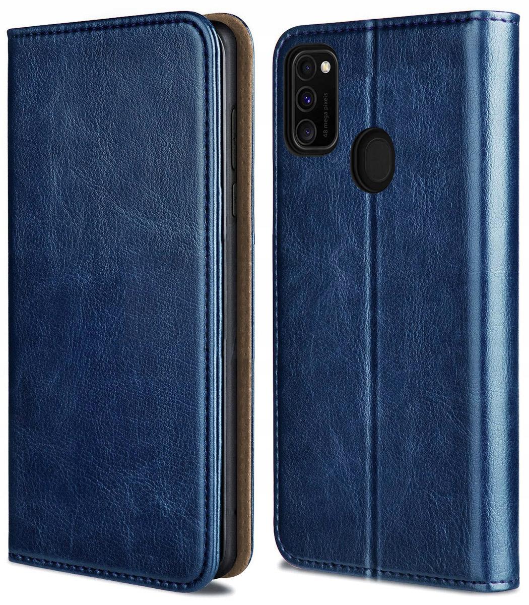 Etui do Samsung Galaxy M21 Skórzane Magnet + Szkło