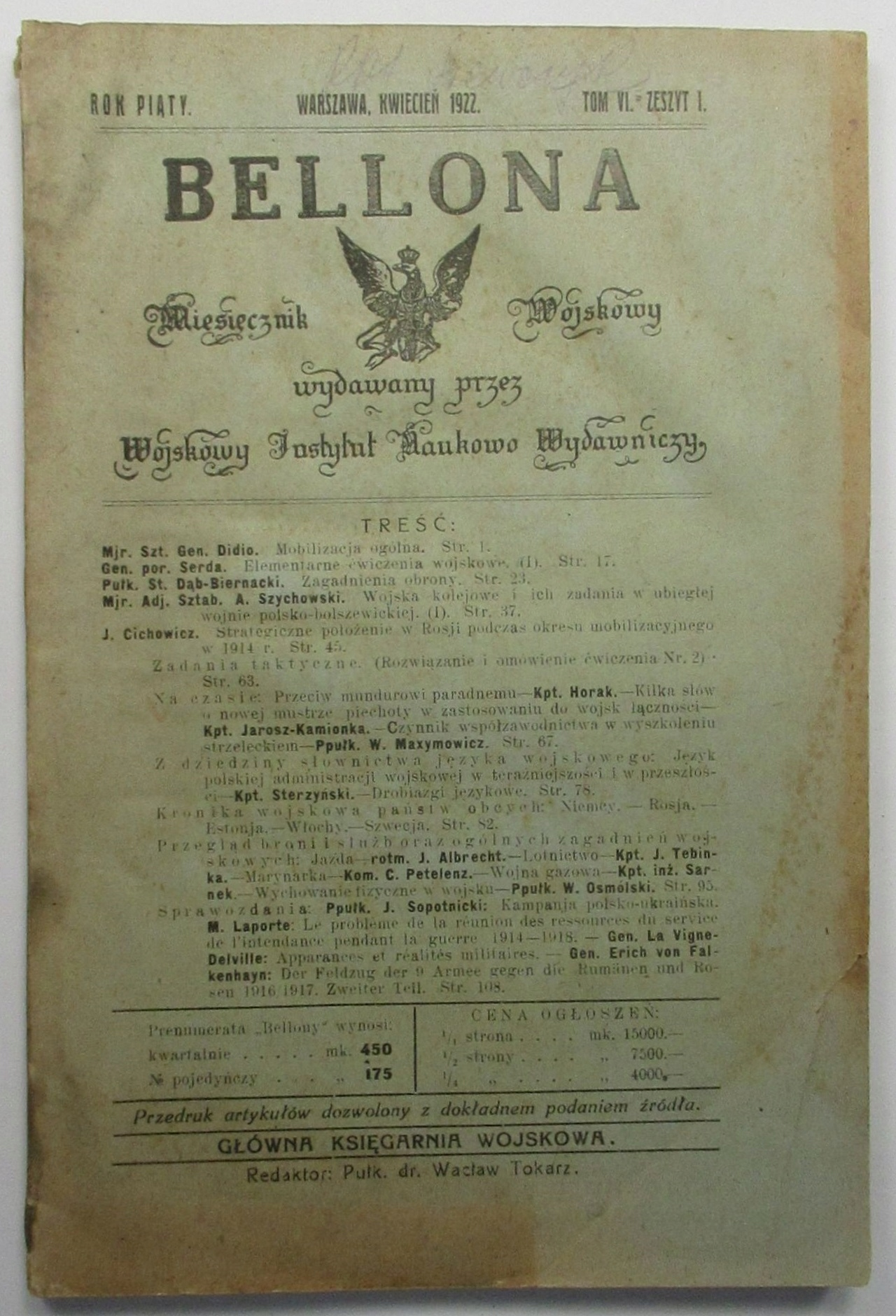 Bellona Miesięcznik Wojskowy, 1922, TABLICE