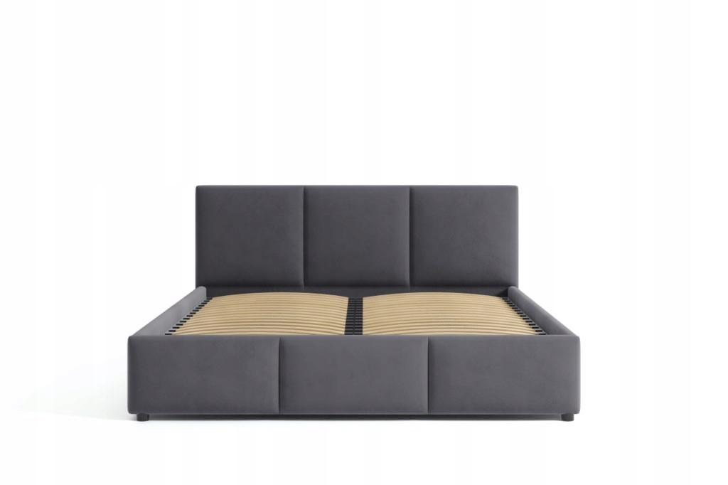 Łóżko Tapicerowane Popiel Welur Welurowe 160x200 Marka Inny producent