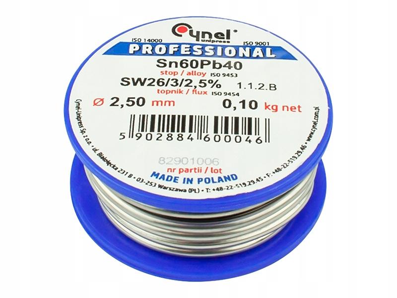 Припой LC60 оловянный Cynel 2.5мм 100гр для пайки