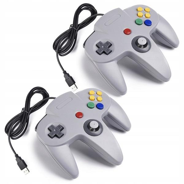 2ks ovládač Retro Nintendo 64 N64, sivý