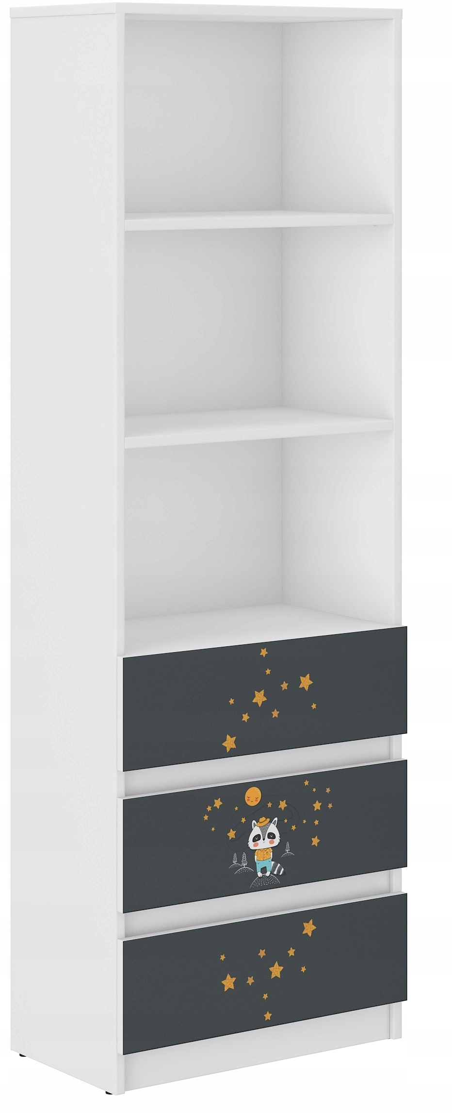 Книжный шкаф B-3 МНОГО ДИЗАЙНОВ 3 ЯЩИКА 3 ПОЛКИ БЕЛЫЙ