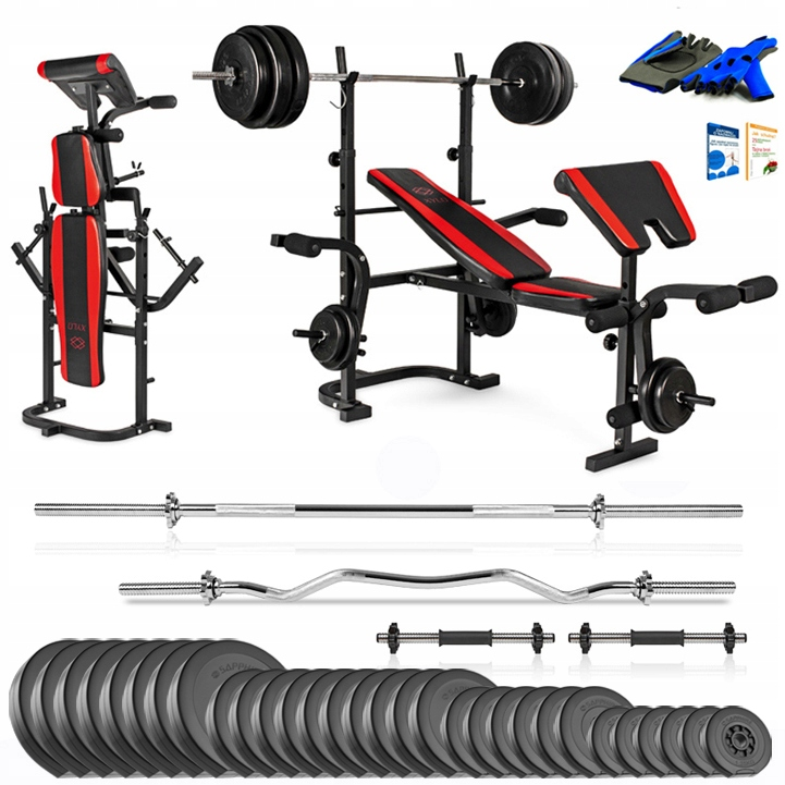 Xylo siłownia 191 kg zestaw ŁAWKA+GRYFY+OBCIĄŻENIA