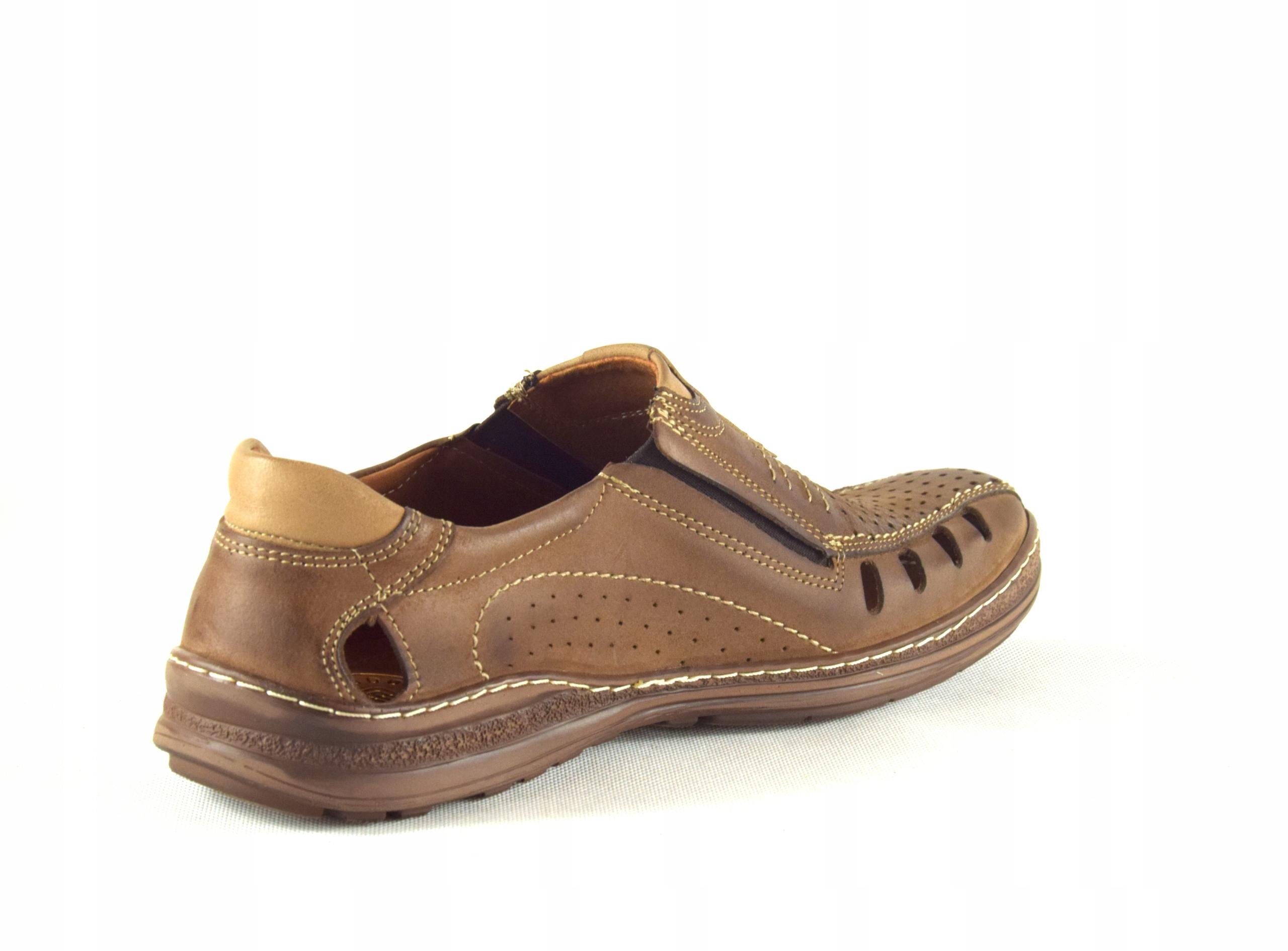 Mokasyny na lato buty ze skóry męskie dziurki 190L Długość wkładki 30 cm