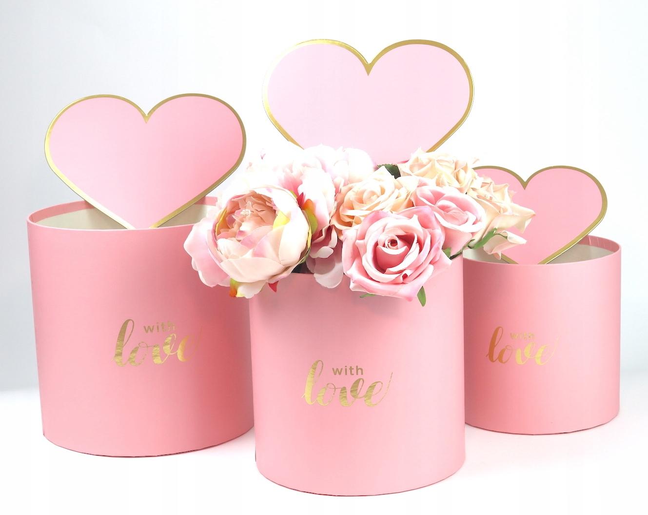 Flower box na kwiaty 3szt z sercem Różowy P368