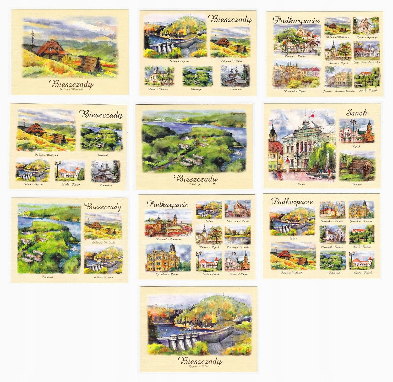 BIESZCZADY PODKARPACIE pocztówki akwarele 10 szt