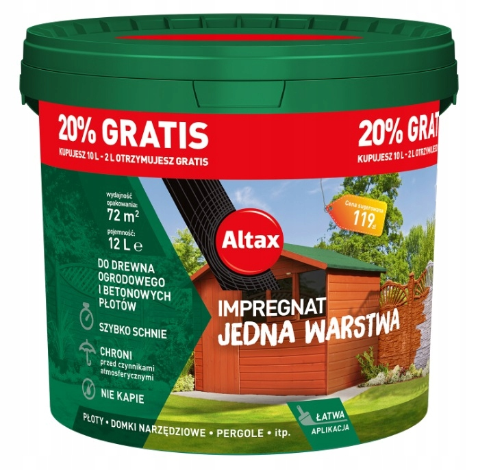 ALTAX IMPREGNATE FOR WOOD 10L GREEN 20 БЕСПЛАТНО