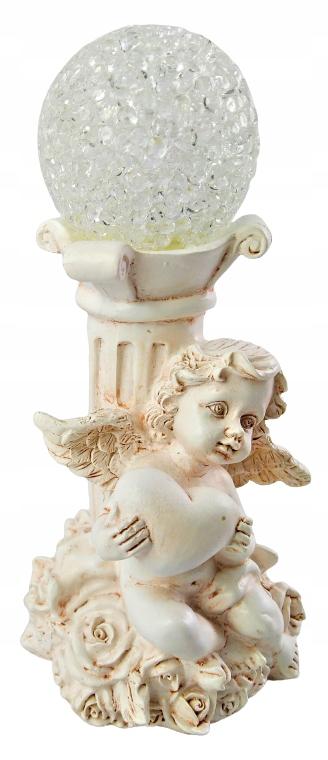 Figurka Anioł ANIOŁEK Led z kulą dekoracyjna 15cm Materiał wykonania tworzywo sztuczne