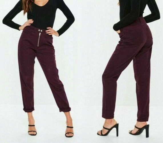 Missguided Burgundowe jeansy Mom Style (36)
